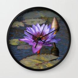 Purple Water Lily Wall Clock
