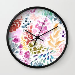cornelia. watercolor florals. Wall Clock