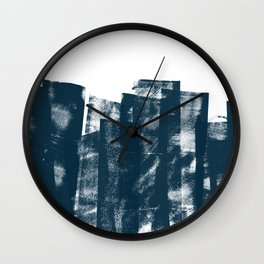 Rolled Ink Texture in Dark Blue Green and White Wall Clock