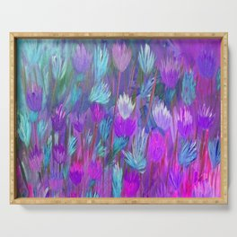 Field of Flowers in Purple, Blue and Pink Serving Tray