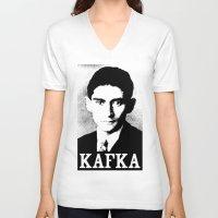 kafka V-neck T-shirts featuring KAFKA by Lestaret