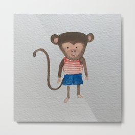 Monkey Jungle Friends Baby Animal Water Color Metal Print
