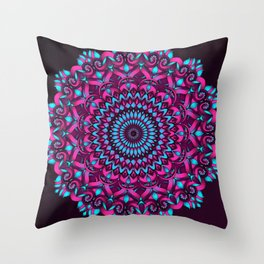 Cotton Candy Mandala Throw Pillow