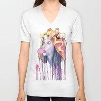 bubblegum V-neck T-shirts featuring Bubblegum by Mia Hawk