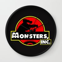 monsters inc Wall Clocks featuring Monsters, Inc Logo.  by Gary Wood