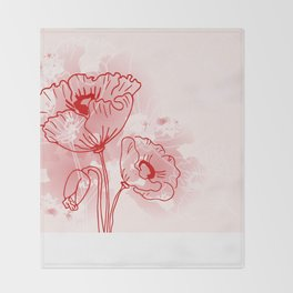 background of flowers poppies  Throw Blanket