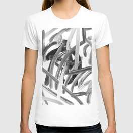 Brushstroke 2   black white T-shirt