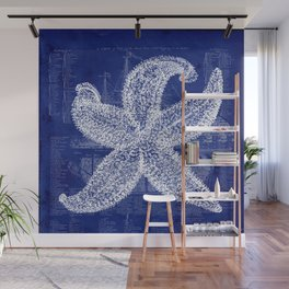Vintage Starfish Blueprint Wall Mural