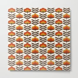 Boogie - retro florals minimal trendy 70s style throwback flower pattern Metal Print