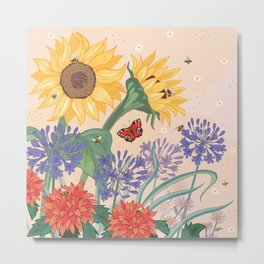 Sunflower Bees Metal Print