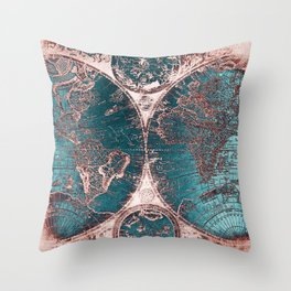 Antique World Map Pink Quartz Teal Blue by Nature Magick Throw Pillow