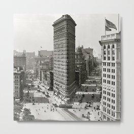 Flatiron Building, Vintage, Bohemian Metal Print