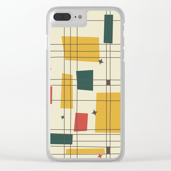 Mid-Century Modern (gold) Clear iPhone Case