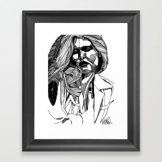 B&W Fashion Illustration - Feather Framed Art Print