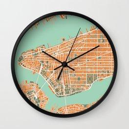 New York city map orange Wall Clock
