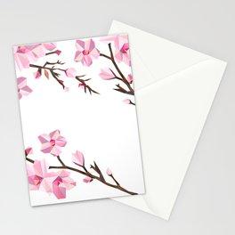 Geometric Japanese Sakura - Cherry Blossoms on White Background Stationery Cards