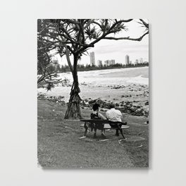 A beach couple. Metal Print