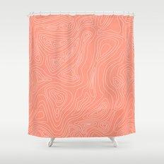 Ocean depth map - coral Shower Curtain