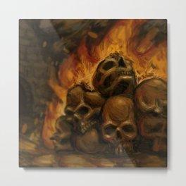 Flaming Skulls Digital Painting Metal Print