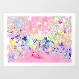 Butterflies dress petal pink Art Print
