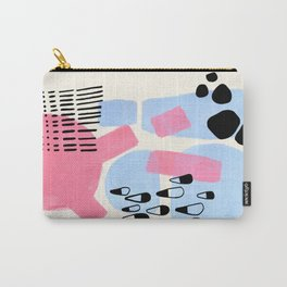 Fun Colorful Abstract Mid Century Minimalist Pink Periwinkle Cow Udder Milk Organic Shapes Carry-All Pouch
