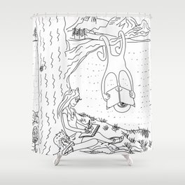 alien and monster - under the tree Shower Curtain