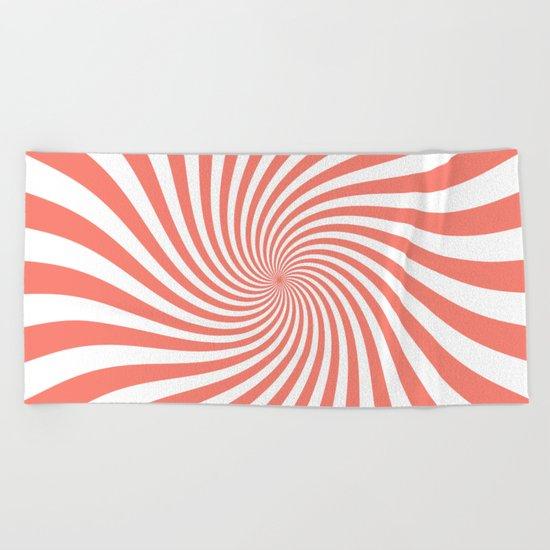 Swirl (Salmon/White) Beach Towel