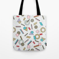 toddler Tote Bags featuring Modern Memphis Inspired Geometric Gold Pattern by Season of Victory