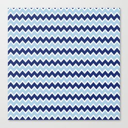 Navy Blue and Light Blue Chevron Canvas Print