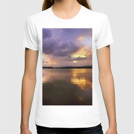 Panoramic. Sunset at the lake after the storm. End of the summer. T-shirt