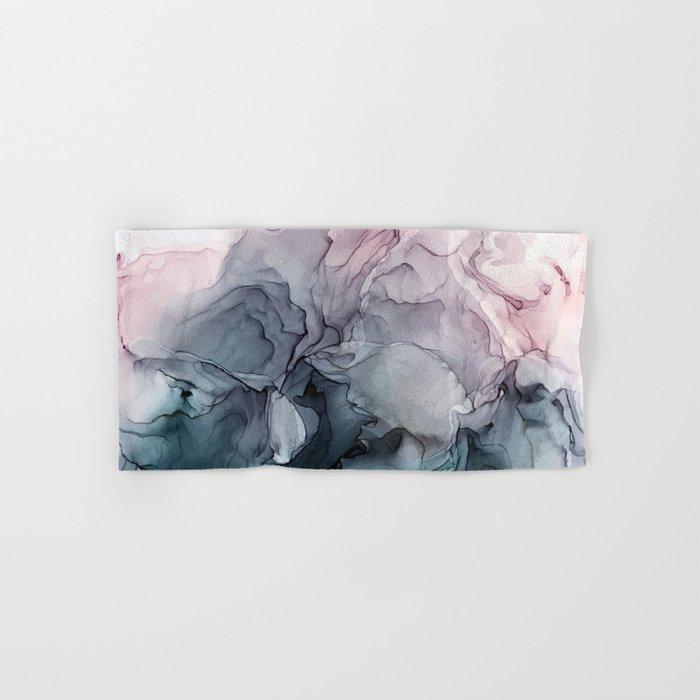 Blush and Payne's Grey Flowing Abstract Painting Hand & Bath Towel