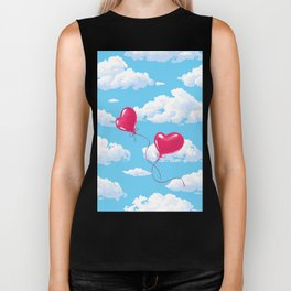 Two heart shaped red balloons Biker Tank