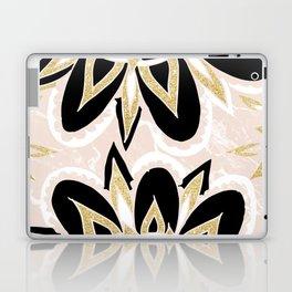 Modern black gold pink abstract floral pattern Laptop & iPad Skin
