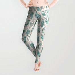 Parliament of Owls - Pale Turquoise by Andrea Lauren Leggings