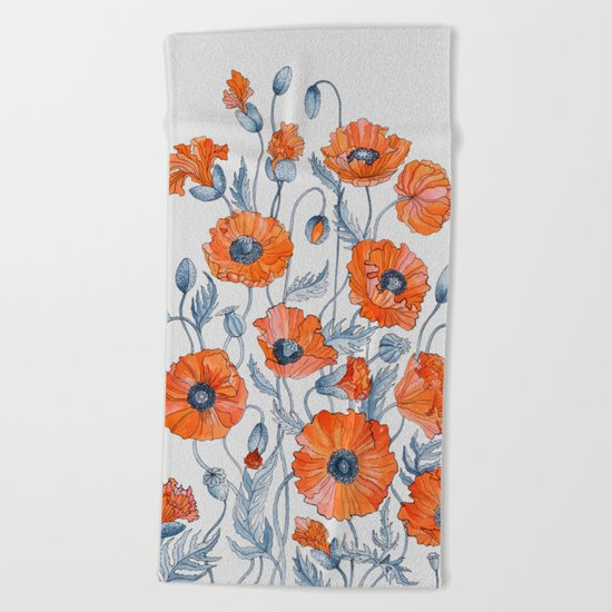 Poppies botanical art Beach Towel