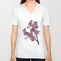 cherry blossoms V-neck T-shirts featuring Cherry Blossoms by Nina Gibson