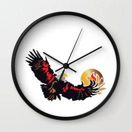 Eagle Soaring at Sunrise  Wall Clock