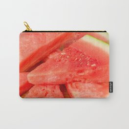 Slices of watermelon on a wood cutting board Carry-All Pouch