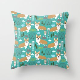 Corgi seattle washington welsh corgi pattern print dog lover gifts space needle ferris wheel coffee Throw Pillow
