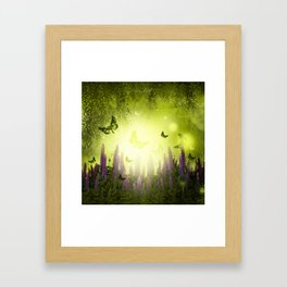"""Forest, flowers and butterflies"" Framed Art Print"
