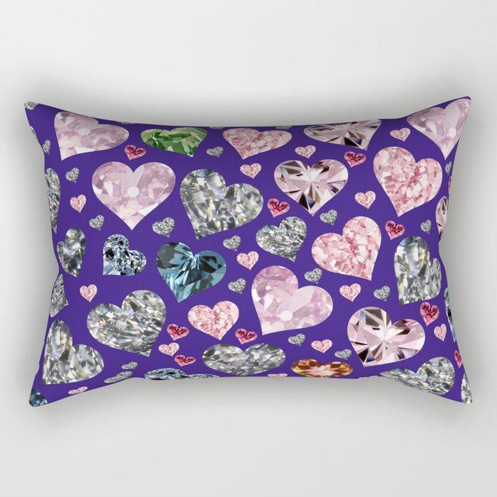 Heart Diamonds are Forever Love Violet Rectangular Pillow