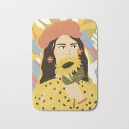 Sunflowers In Your Face Bath Mat