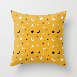 Orange background with black and white moon and star pattern Throw Pillow