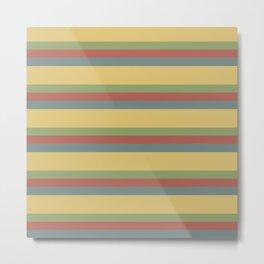 colorful autumn pattern horizontal stripes Metal Print
