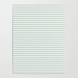 Mattress Ticking Narrow Striped Pattern in Moss Green and White Poster