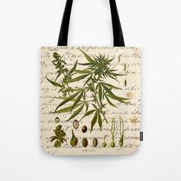 Marijuana Cannabis Botanical on Antique Journal Page Tote Bag