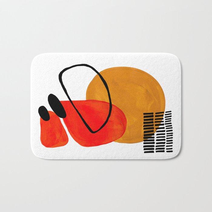 Mid Century Modern Abstract Vintage Pop Art Space Age Pattern Orange Yellow Black Orbit Accent Badematte