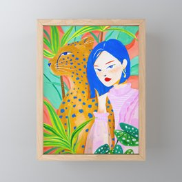 Short Hair Girl and Leopard in Garden Framed Mini Art Print