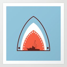 Great White Attack Art Print