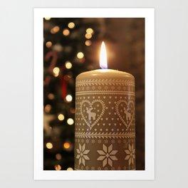 Christmas candle vertical Art Print